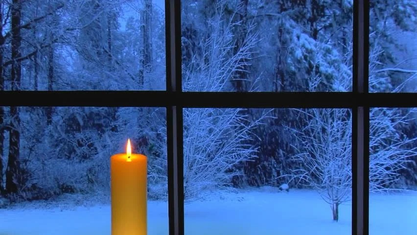 Animated Snow Falling Wallpaper Free Download Red Candle In Front Of Window At Dusk With Snow Falling