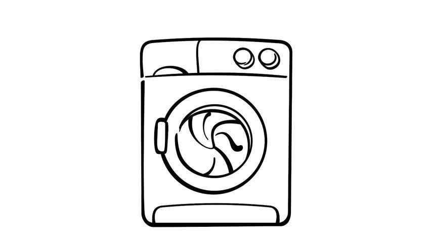 Drawing of Washing Machine On Stock Footage Video (100%