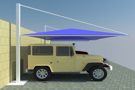pyramid top support car parking shades in UAE