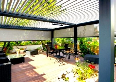outdoor seating louver pergola
