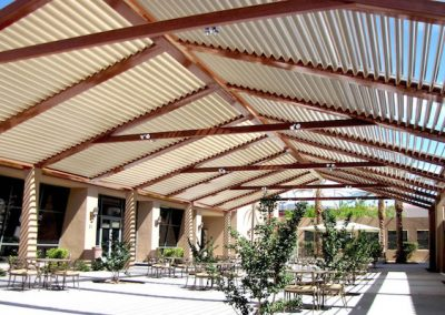 wooden louvered pergola shade
