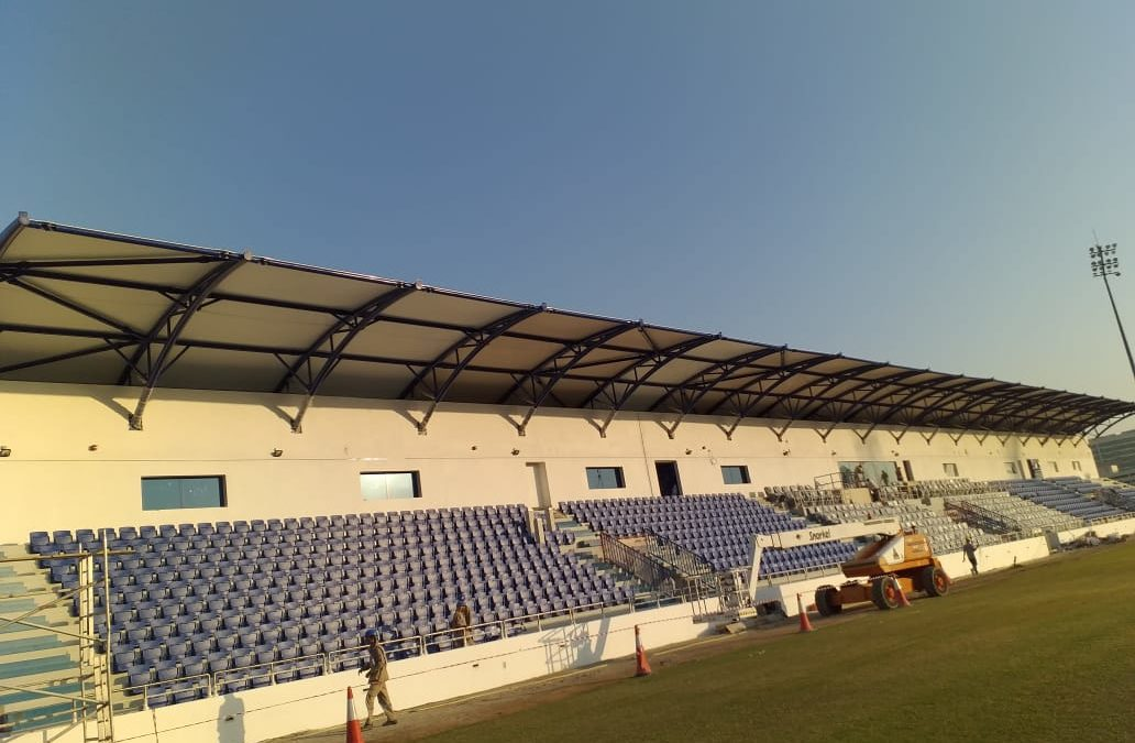 PTFE Fabric Shade Installation in Dubai at Al-Nasr Stadium