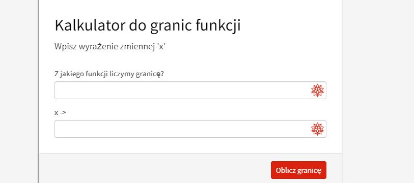Kalkulator do granic funkcji jednej zmiennej