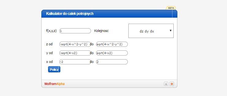 Kalkulator do całek potrójnych