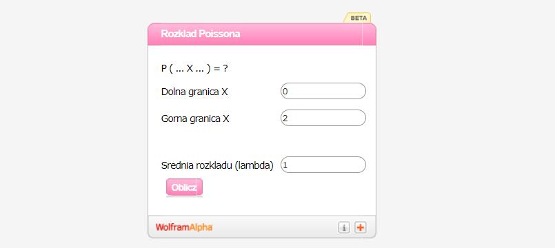 Kalkulator rozkładu Poissona