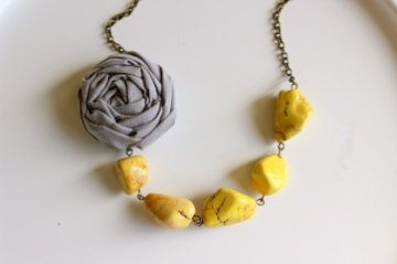 Gray and Yellow Fabric Flower Necklace