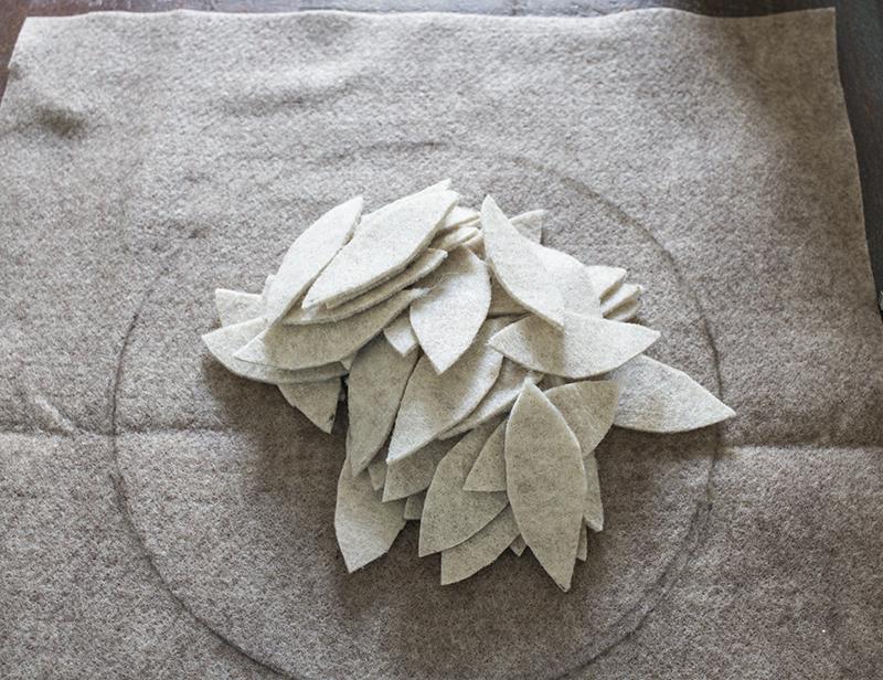 AKA Design Felt Wreath Pillow Cut Leaves BLOG PIC