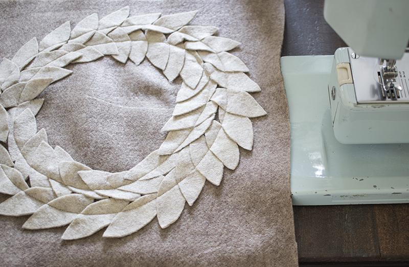 AKA Design Felt Wreath Pillow Sew Leaves BLOG PIC