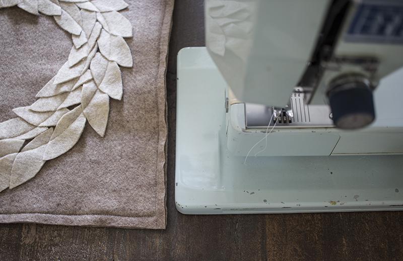 AKA Design Felt Wreath Pillow Sew Three Sides BLOG PIC