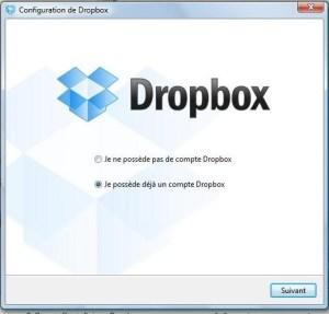1ère étape installation Dropbox