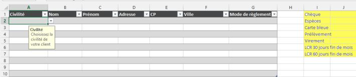 Liste déroulante dans une cellule Excel