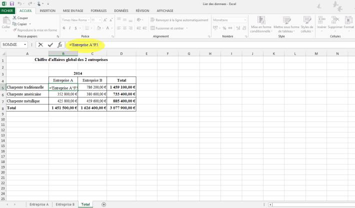 Lier des données de plusieurs feuilles vers une feuille unique dans un classeur Excel
