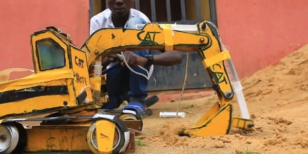 Hope Emmanuel Frank Used Wood And Laptop Batteries To Construct Excavator