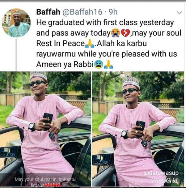 Bayero University First Class Graduate Returns To His Creator A Day After Graduation1