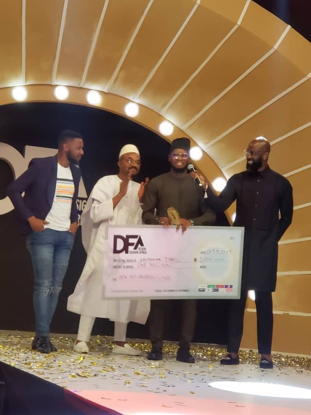 L-R: Mr. Olaoluwa Babalola, Brand Manager- Heineken, Dr. Felix King, chief Executive Officer, Oracle Experience- Co-promoted of DFA, Abubakar Jubril, winner 2019 DFA grand prize and Mai Atafo, renowned fashion designer at the presentation of Design Fashion Africa prize to the winner at Eko Hotel, Victoria Island Lagos.