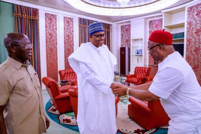 Image result for images of President Buhari receives new Imo governor, Hope Uzodinma, in the state house