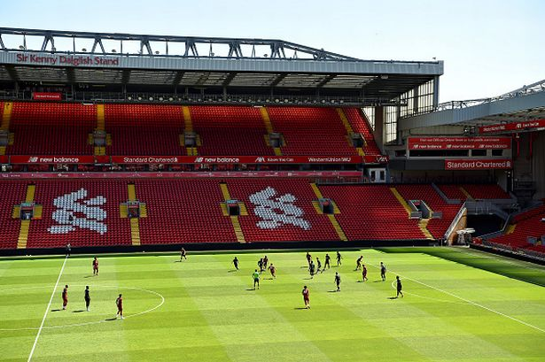 Liverpool trained at Anfield on Monday