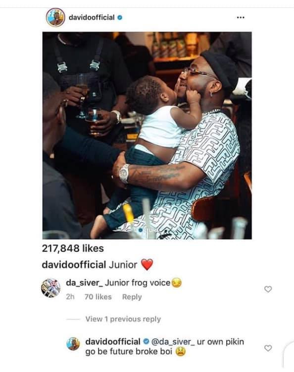 Your own child will be a future broke boy - Davido lampoons follower who described his son, Ifeanyi as a 'junior frog voice' lindaikejisblog 1
