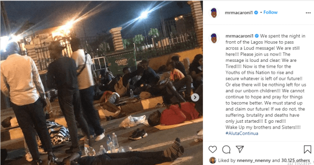 Comedian Mr Macaroni and other #EndSARS protesters passed the night at Lagos government house in spite of security operatives seizing their chairs lindaikejisblog 1