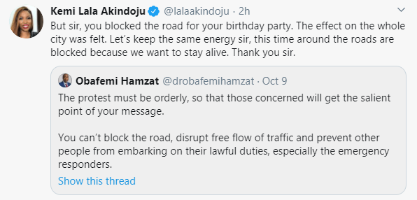 You blocked the road for your birthday party, we are blocking the roads now to stay alive - Lala Akindoju slams Lagos Deputy Governor lindaikejisblog 1