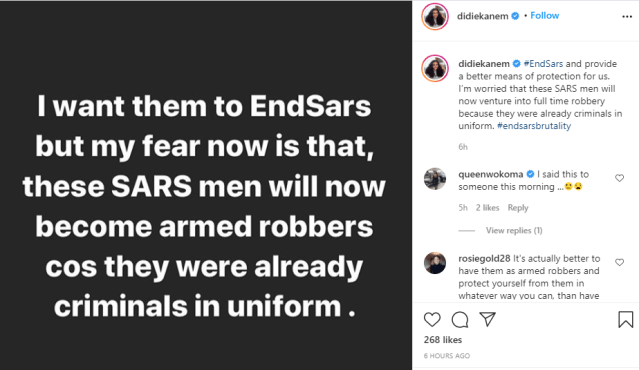I want SARS ended but my fear is they might become armed robbers Actress Didi Ekanem lindaikejisblog 1