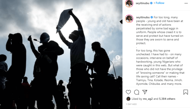 People whose creed it is to serve and protect have turned on those they are sworn to serve and protect - Bola Tinubu's son, Seyi comments on #EndSARS protest lindaikejisblog 1