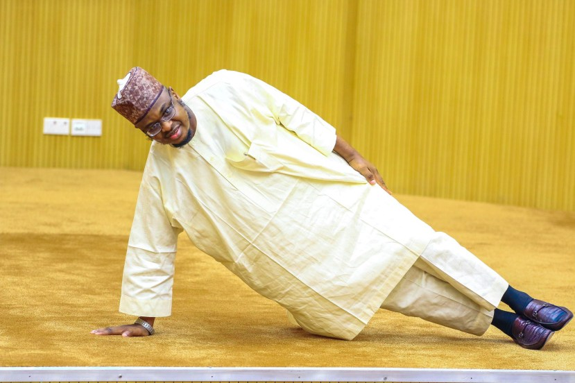 Minister of Communications and Digital Economy, Dr Isa Pantami demonstrates exercise tips in Kaftan lindaikejisblog 3