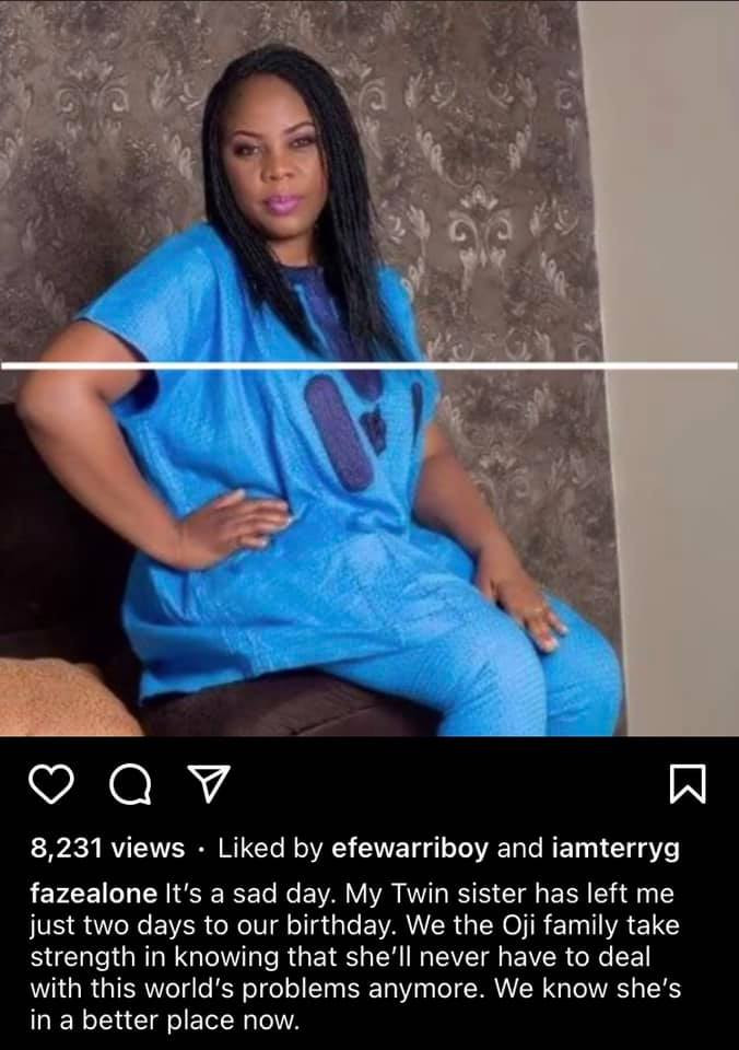 Singer Faze loses twin sister two days to their birthday 1