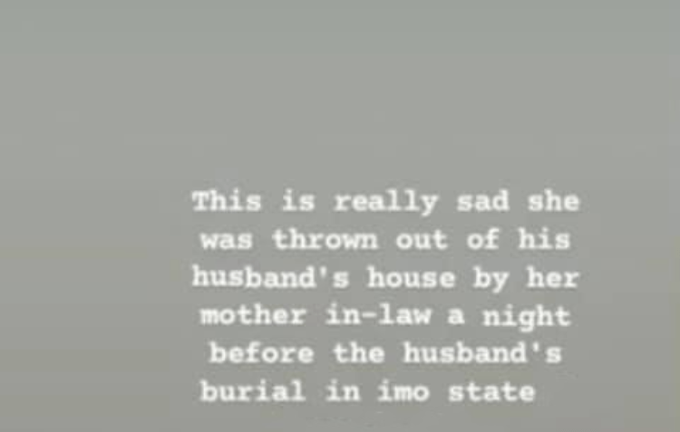 Widow and her children reportedly thrown out by her mother-in-law, a night before his burial in Imo state 1
