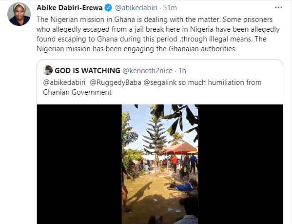 Abike Dabiri reacts to video of Nigerians being dehumanized by Ghanaian authorities, insinuates some of them are 'Nigerians who escaped from jail break in Nigeria' 1