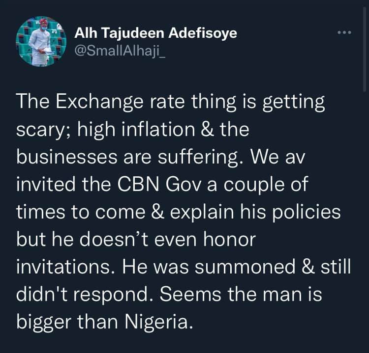 The exchange rate is now scary, we've invited CBN Governor several times to explain his policies but he didn't respond - House of Reps member, Tajudeen Adefisoye 1
