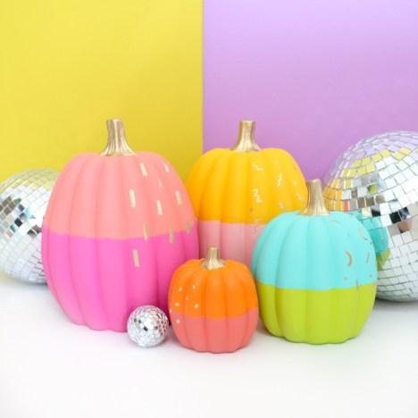 kids thanksgiving party ideas no carve color blocked pumpkins