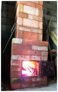 Tégla mini tűzhely