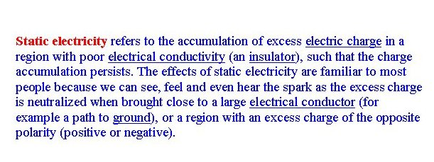 Static Electricity Defined by Wikipedia