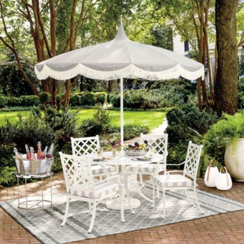 pacific pagoda 8 5 ft umbrella with fringe edge
