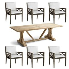 Outdoor Table And Chairs Wood Shiatsu Chair Massager Patio Furniture Frontgate Washed Teak Dining Set