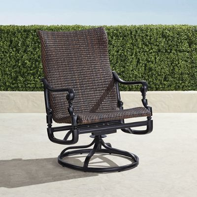 woven outdoor chair la z boy office review patio furniture frontgate set of two carlisle swivel rocker lounge chairs