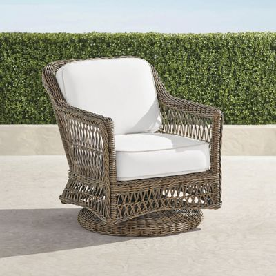 frontgate outdoor lounge chairs wedding white chair covers hampton swivel with cushions in driftwood finish