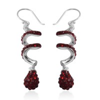 Red Austrian Crystal Silvertone Swirl Drop Earrings | drop ...