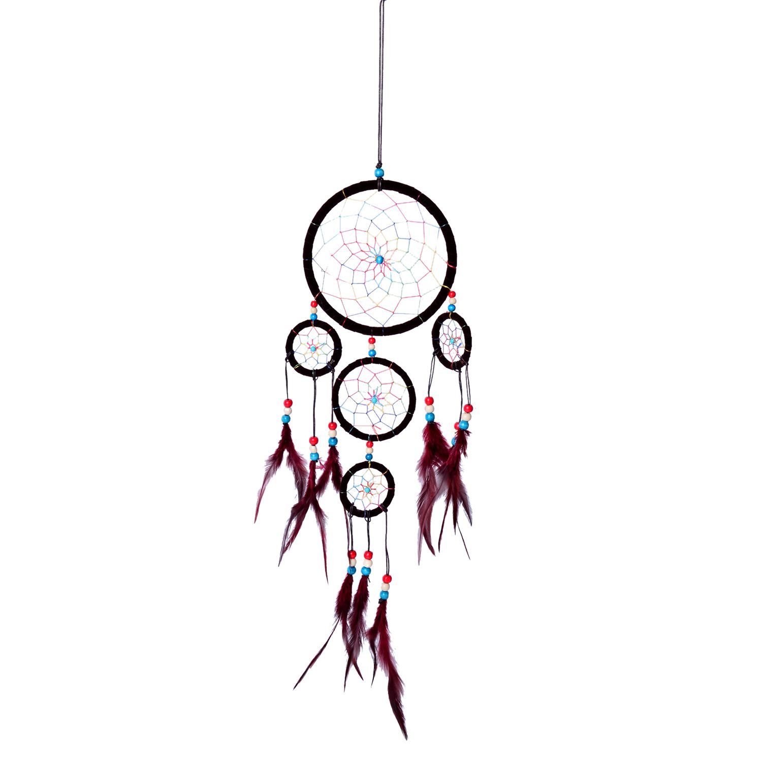 Small Brown Dream Catcher with Multi Color Beaded Web and