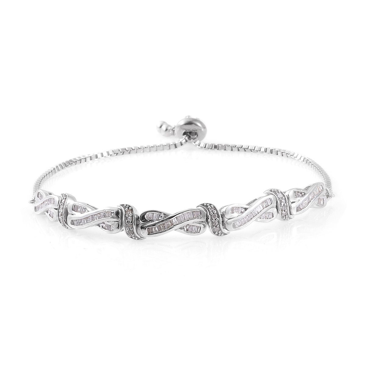 Diamond Platinum Over Sterling Silver Magic Ball Bracelet