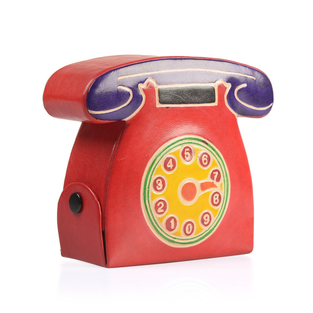 medium resolution of handpainted genuine leather rotary dial telephone money bank with button opening 5x1 5x3