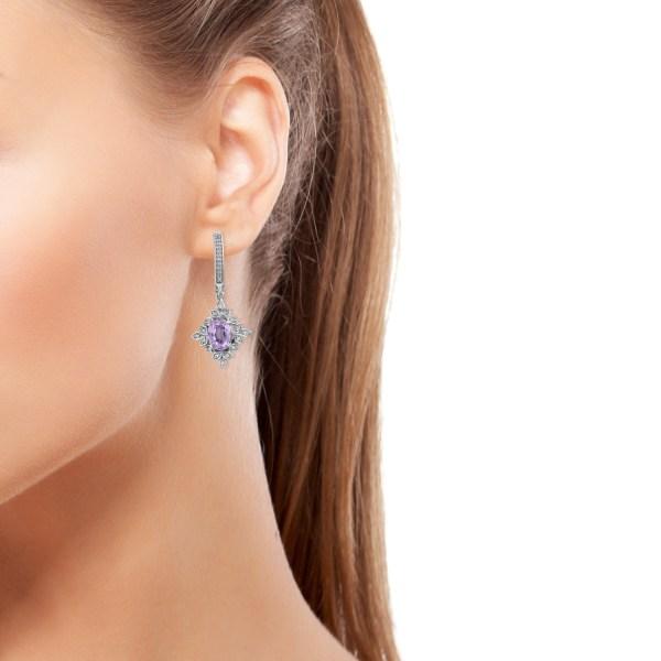 Martha Rocha Kunzite Cambodian Zircon Platinum Over Sterling Silver Earrings Tgw 5.80 Cts