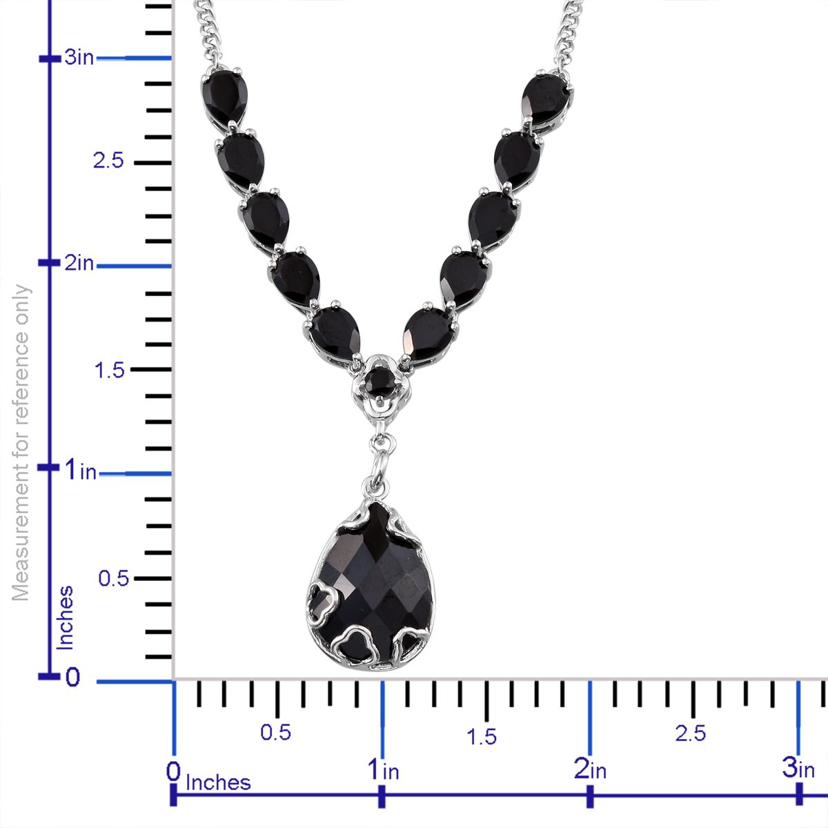 Gp Thai Black Spinel Platinum Over Sterling Silver