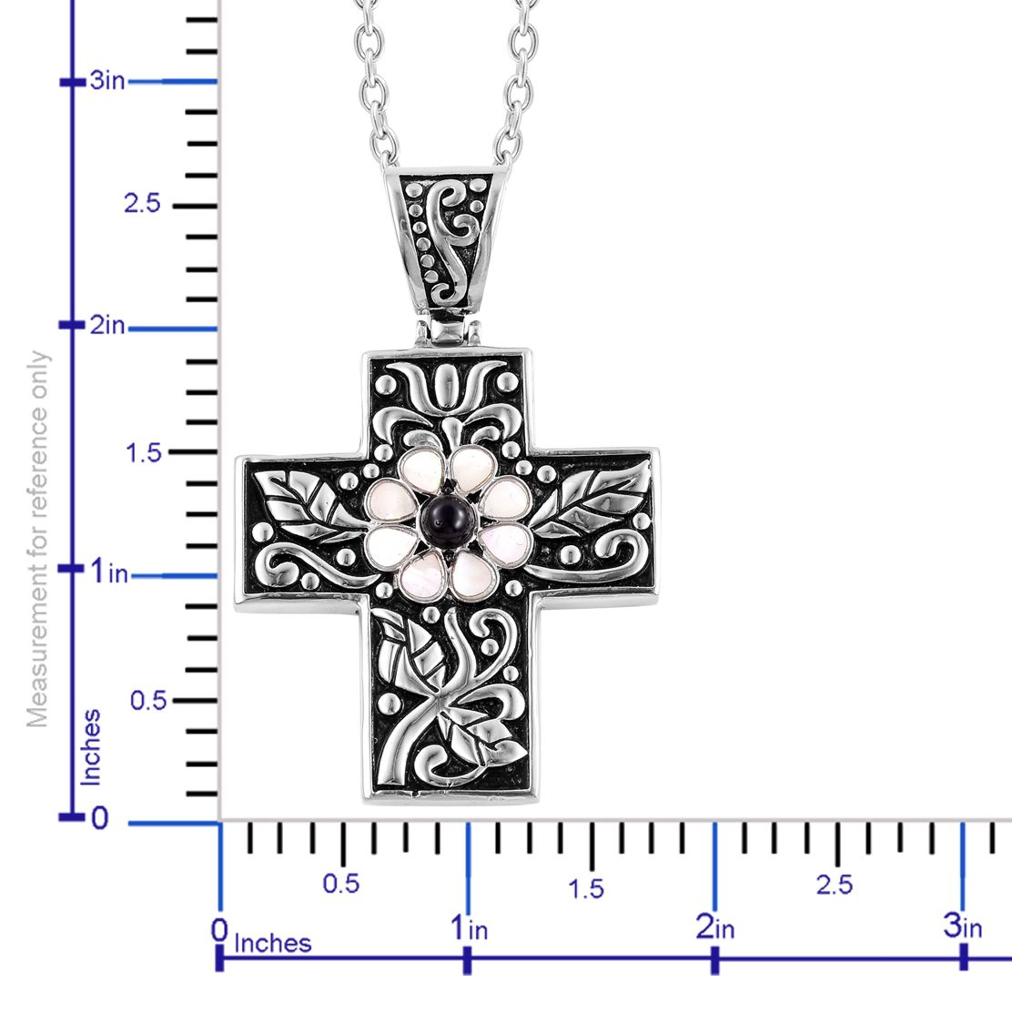 Mother of Pearl, Black Agate Stainless Steel Cross Pendant