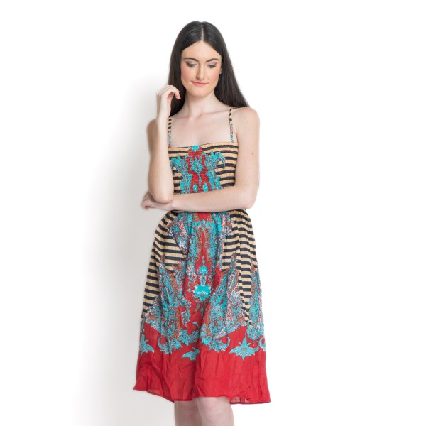 Black And Red 100 Cotton Sundress With Elastic Waist Band
