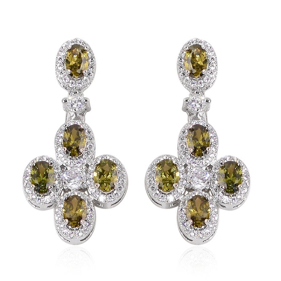 Simulated Forest Green Diamond Silvertone Dangle Earrings