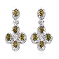Simulated Forest Green Diamond Silvertone Dangle Earrings ...