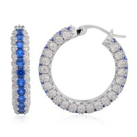 Simulated Blue and White Diamond Silvertone Hoop Earrings ...