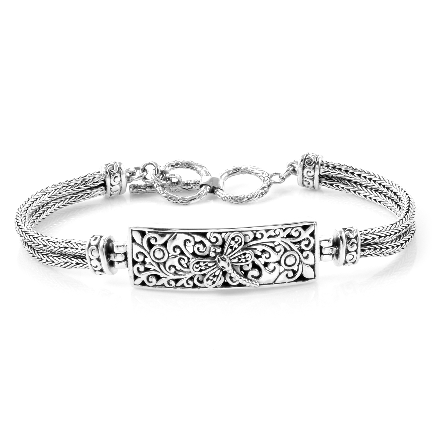 Bali Legacy Collection Sterling Silver Dragonfly Tulang Naga Bracelet With Toggle Clasp 7 50 In